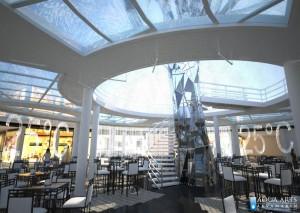 2.Idejno rešenje kafea u centru pešačkih podzemnih prolaza ispod centralne fontane koja se nastavlja i u podzemnoj etaži