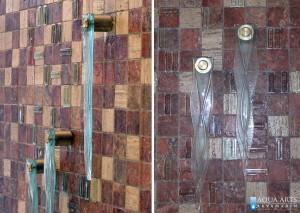 4.Detalj vodenog zida sa staklenim elementima za slivanje vode u fontani u banci Voban u Novom Sadu