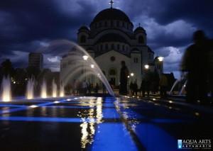 6.Gradska Fontana ispred Hrama Svetog Save u Beogradu, Projekat, podvodna rasveta fontane, isporuka i montaža