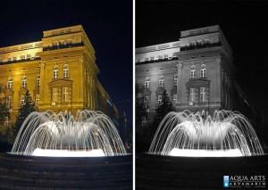 24.Fontana na Trgu Vuka Karadžića, ispred Tehničkih Fakulteta u Beogradu, osvetljenje fontane